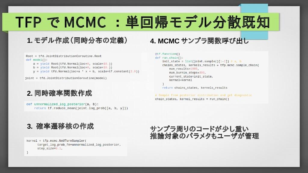 TFP で MCMC :単回帰モデル分散既知 1. モデル作成(同時分布の定義) 2. 同時確...