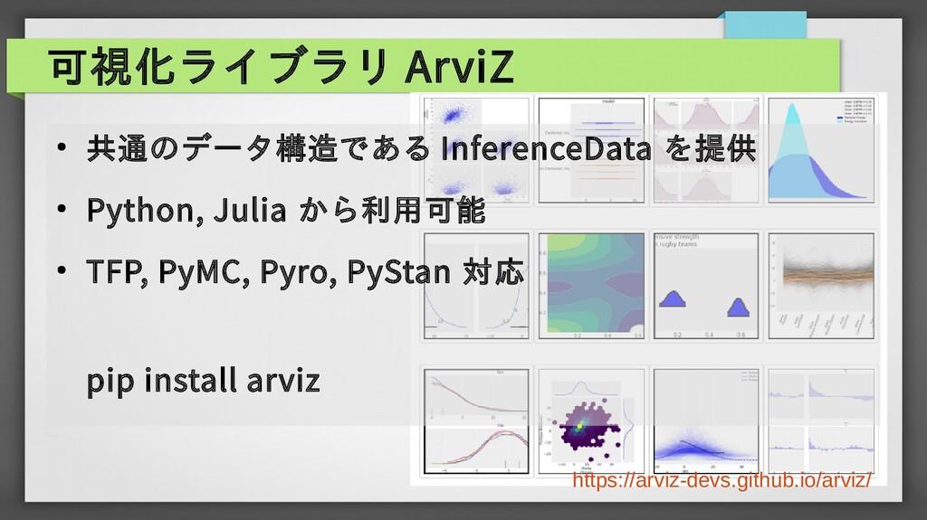 可視化ライブラリ ArviZ ● 共通のデータ構造である InferenceData を提供 ...