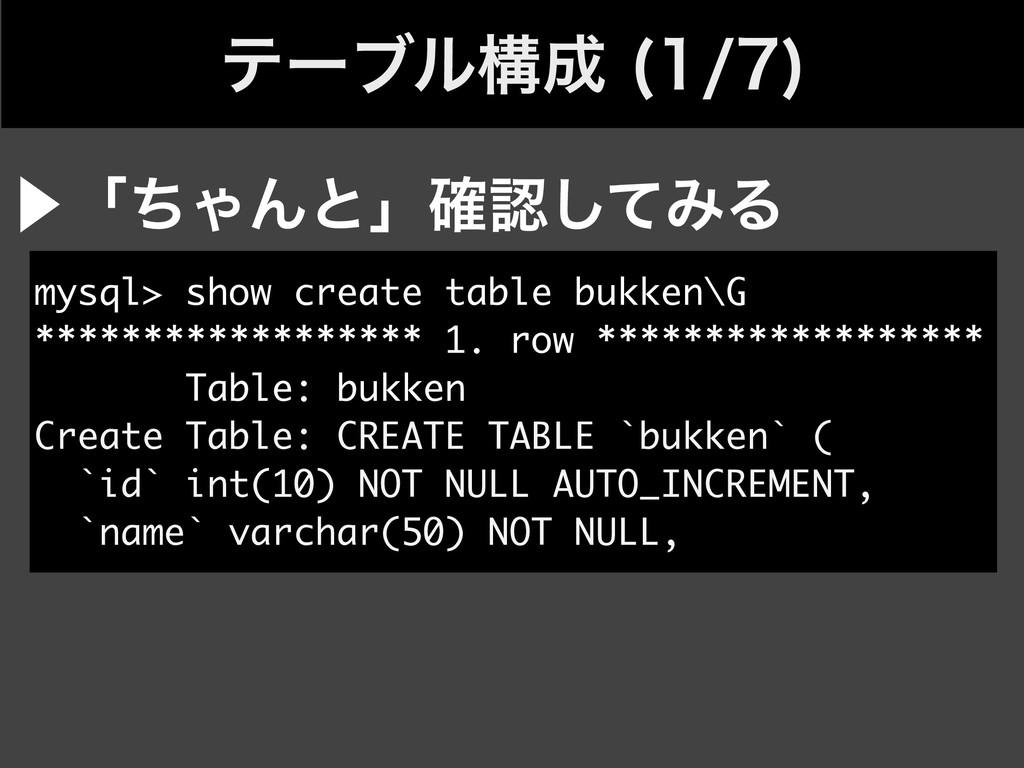 ςʔϒϧߏ   mysql> show create table bukken\G ...