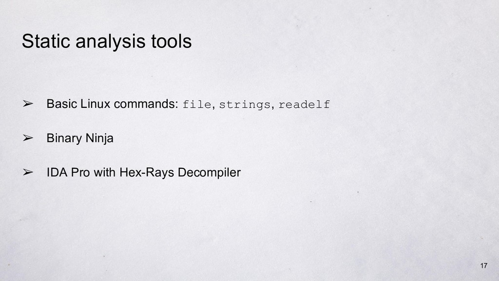 Static analysis tools ➢ Basic Linux commands: f...