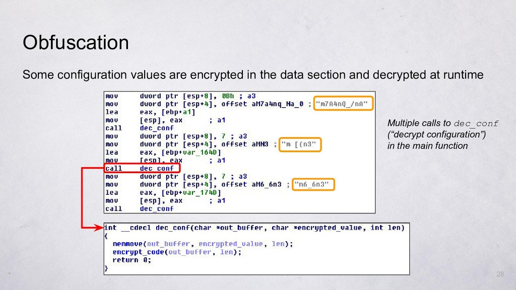 Some configuration values are encrypted in the ...