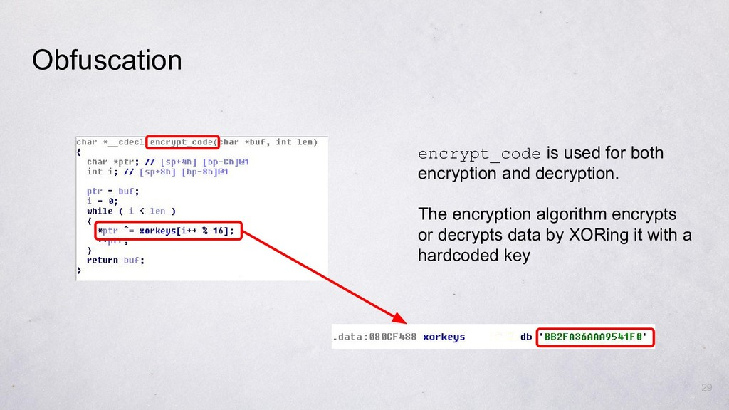 29 encrypt_code is used for both encryption and...