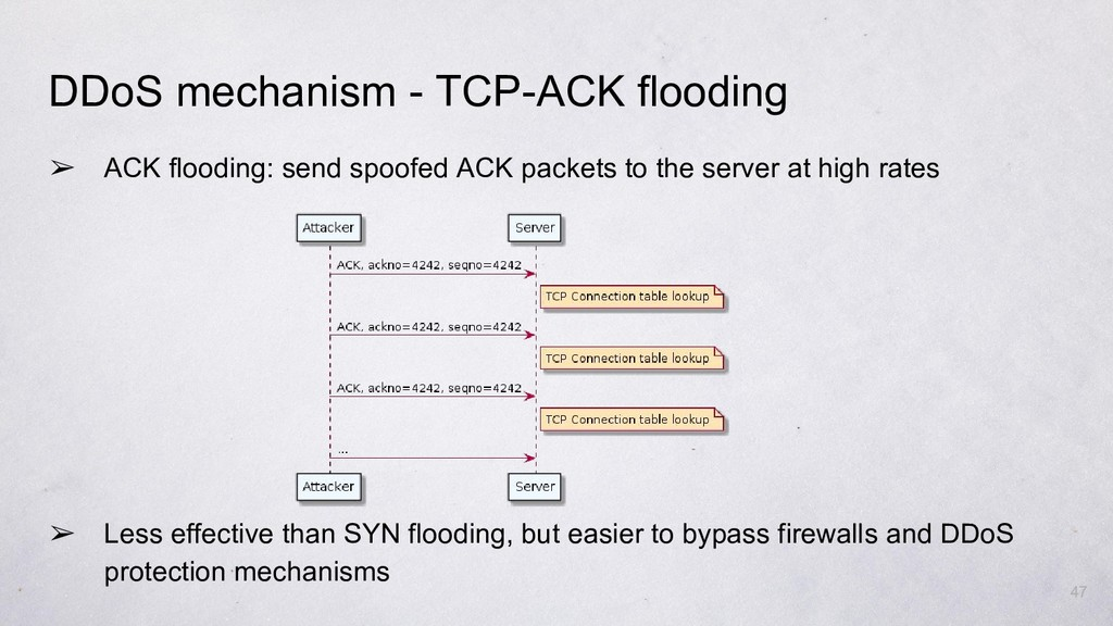 ➢ ACK flooding: send spoofed ACK packets to the...