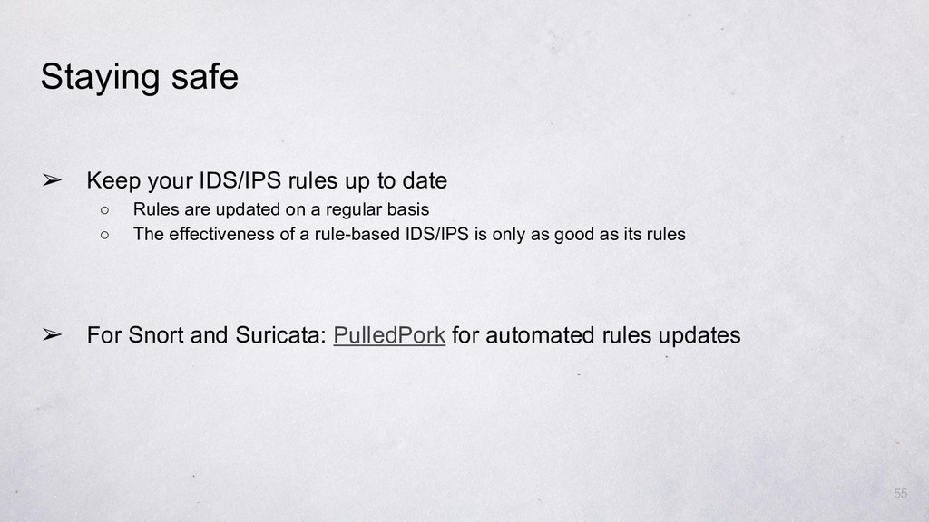 ➢ Keep your IDS/IPS rules up to date ○ Rules ar...