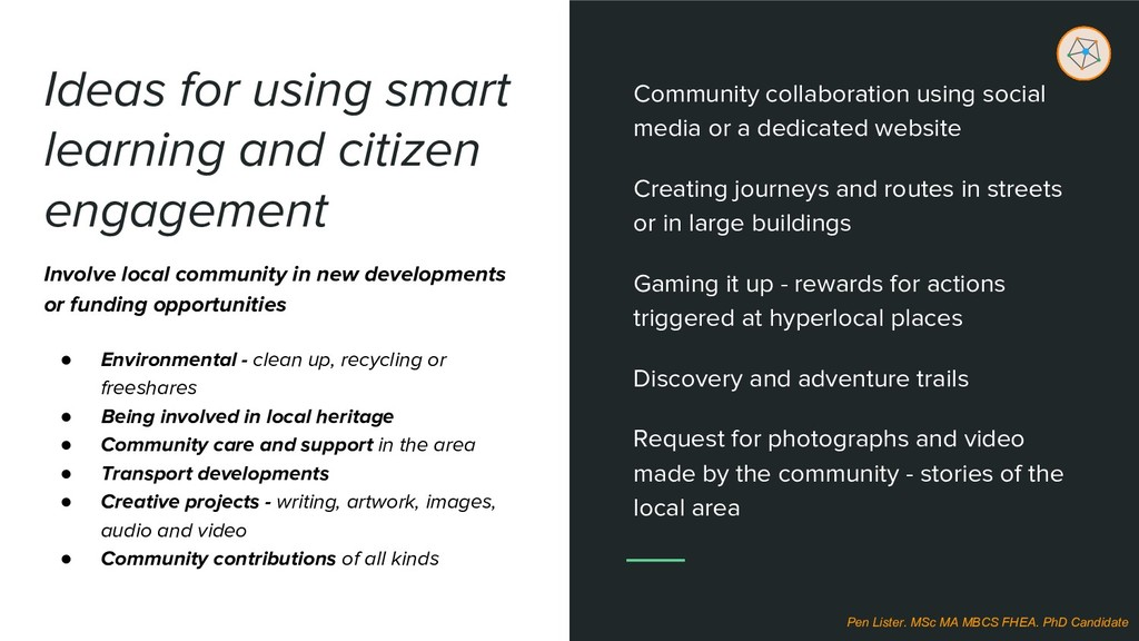 Ideas for using smart learning and citizen enga...