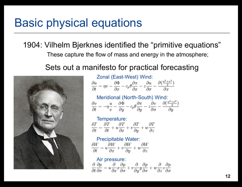 12 Basic physical equations •Zonal (East-West) ...