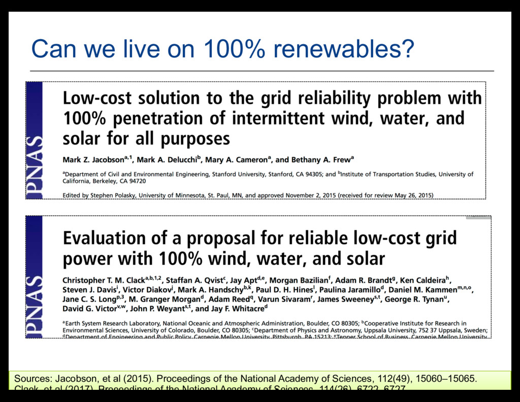 25 Can we live on 100% renewables? Sources: Jac...