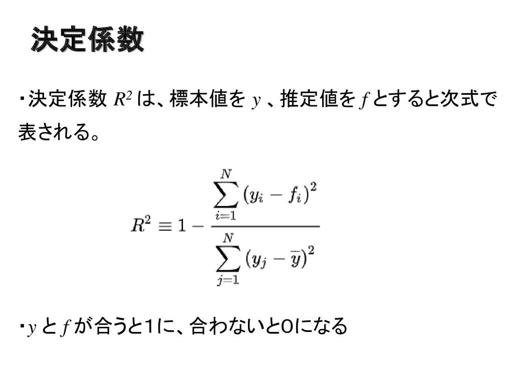 ・決定係数 R2 は、標本値を y 、推定値を f とすると次式で 表される。 ・y と f ...