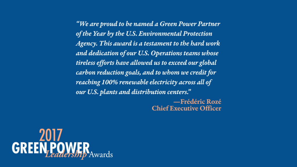 """We are proud to be named a Green Power Partner..."