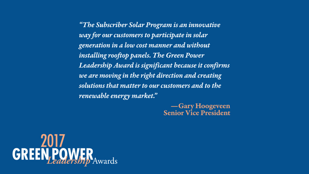 """The Subscriber Solar Program is an innovative ..."