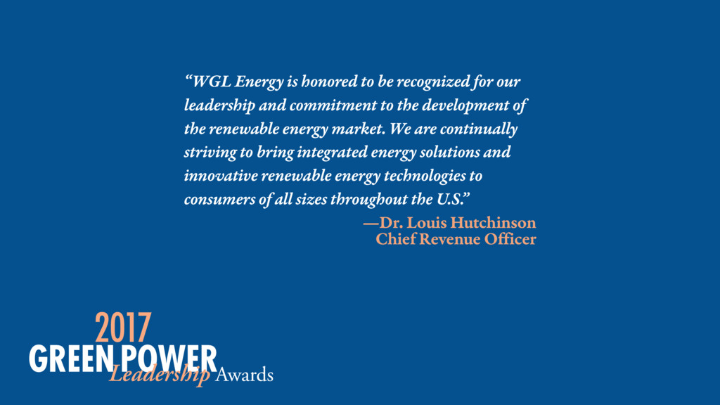 """WGL Energy is honored to be recognized for our..."