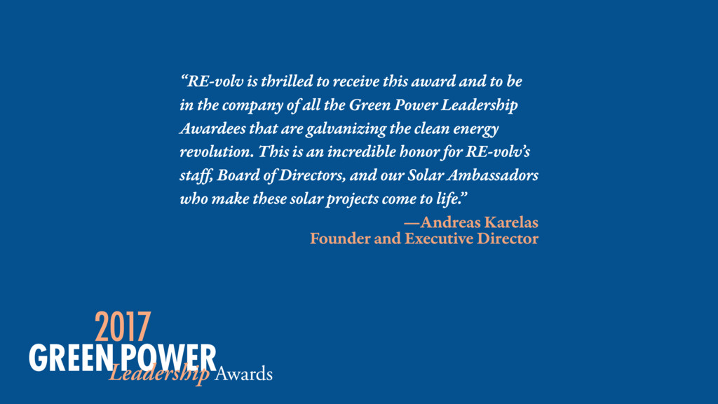 """RE-volv is thrilled to receive this award and ..."