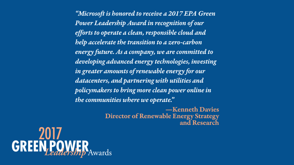 """Microsoft is honored to receive a 2017 EPA Gre..."