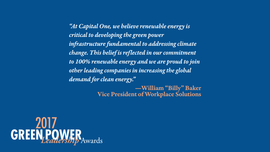 """At Capital One, we believe renewable energy is..."