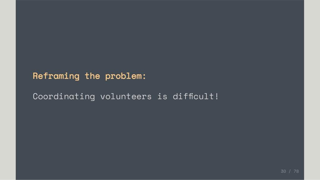Reframing the problem: Coordinating volunteers ...