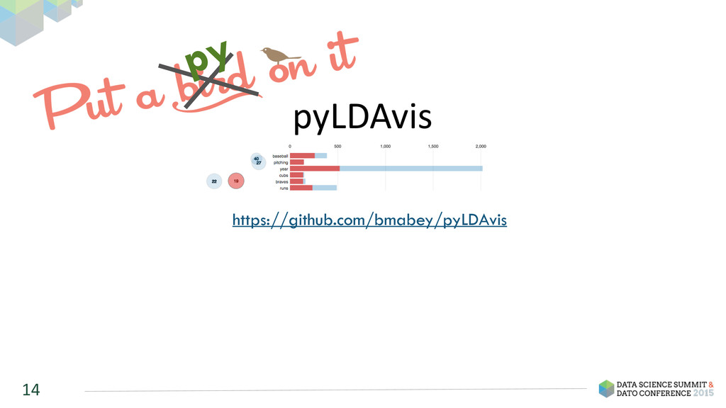 pyLDAvis 14 https://github.com/bmabey/pyLDAvis ...