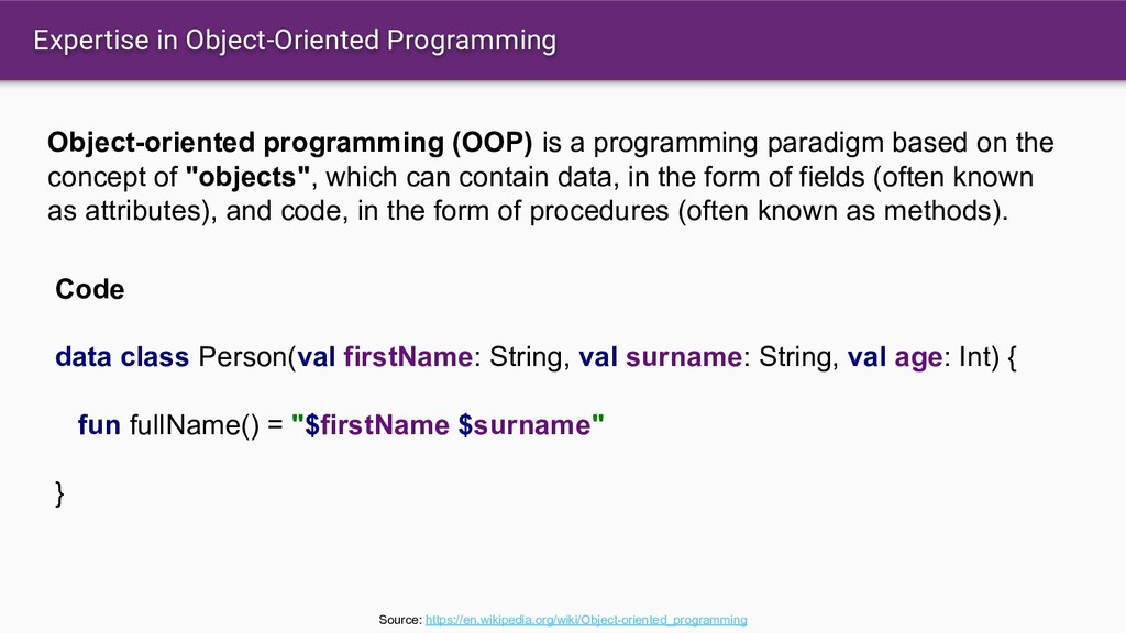 Expertise in Object-Oriented Programming Object...