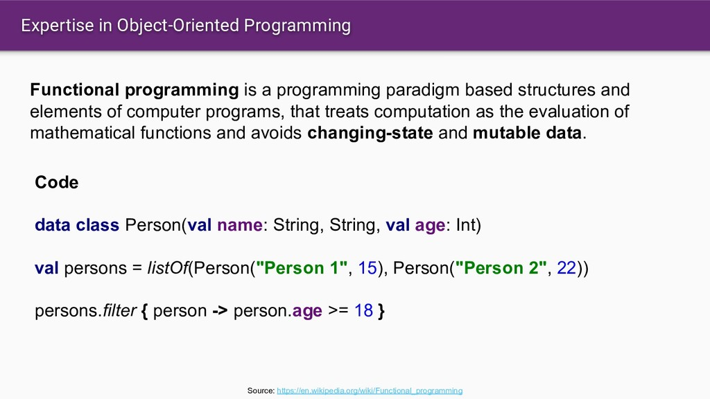 Expertise in Object-Oriented Programming Functi...