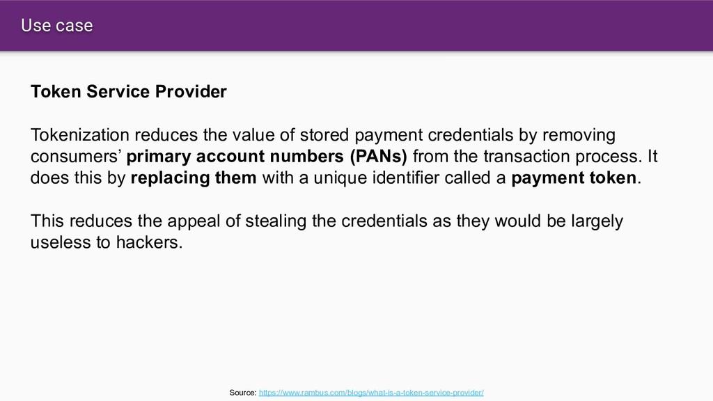 Use case Token Service Provider Tokenization re...