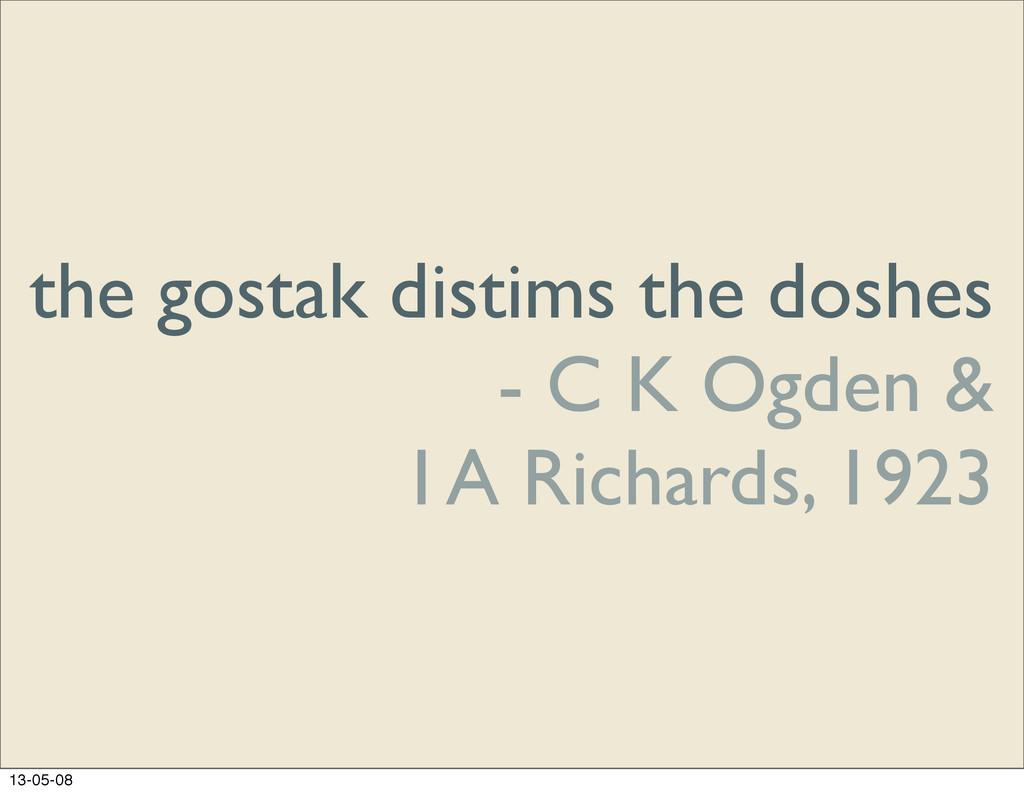 the gostak distims the doshes - C K Ogden & I A...