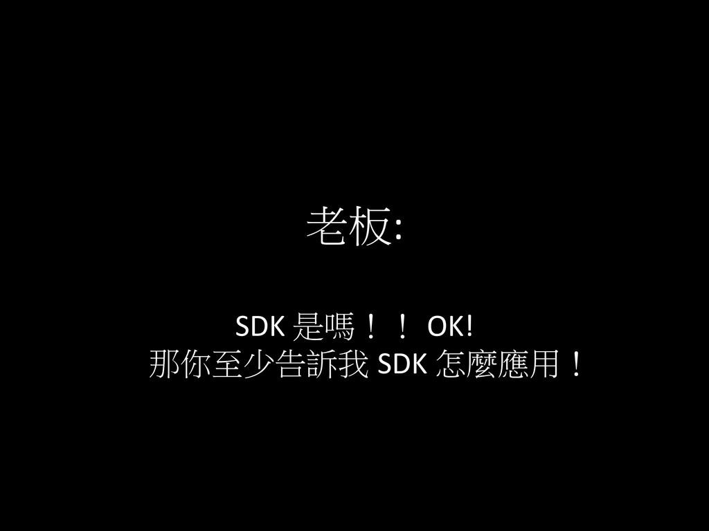 老板: SDK 是嗎!! OK!  那你至少告訴我 SDK 怎麼應用!