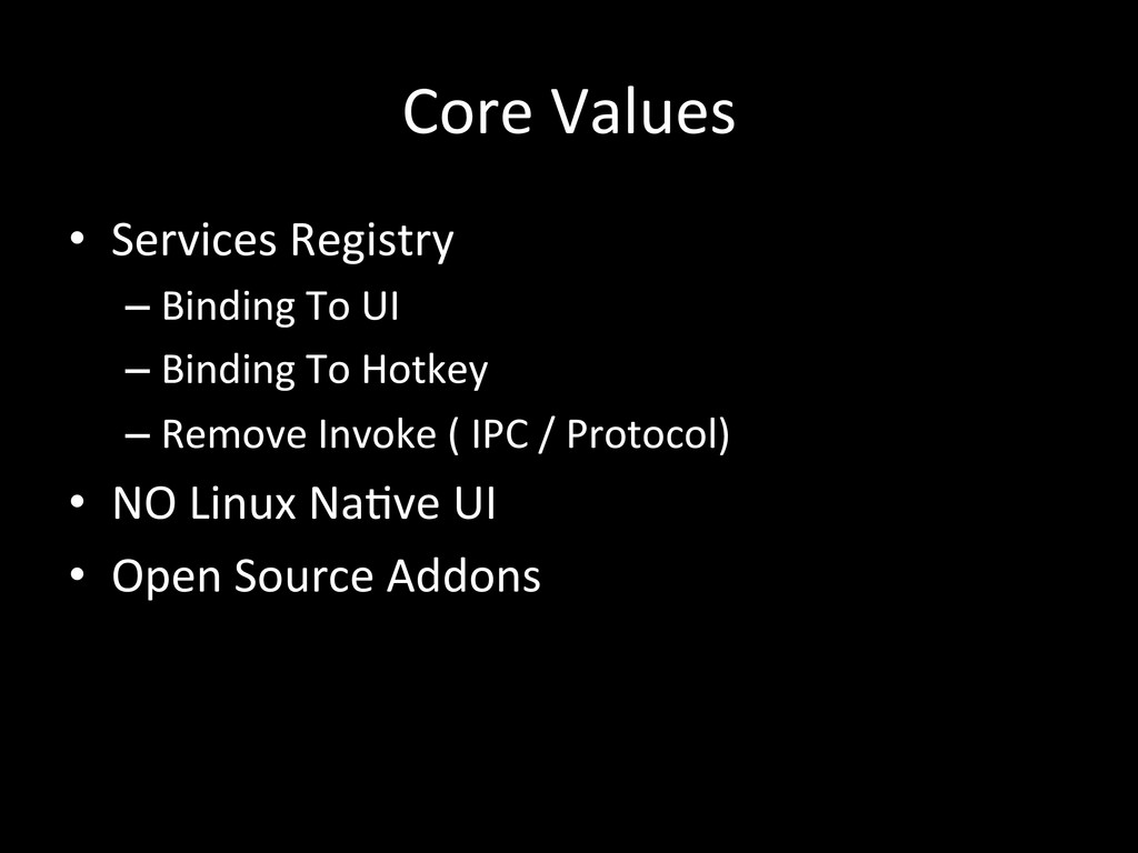 Core Values • Services Registry  –B...