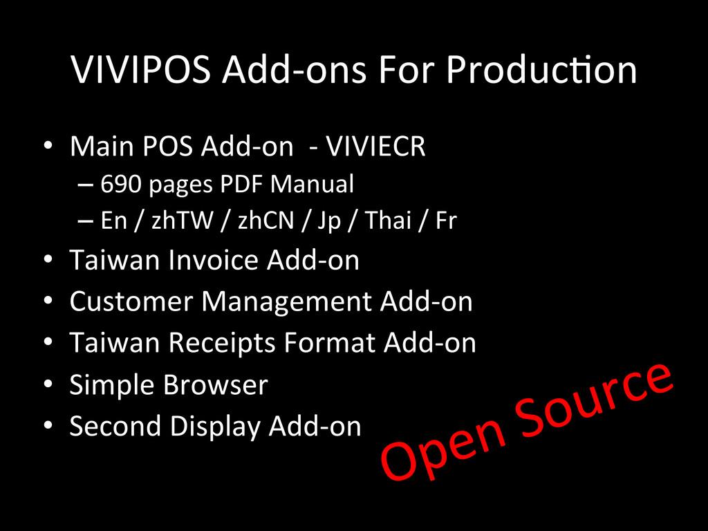 VIVIPOS Add-‐ons For Produc\on • Ma...