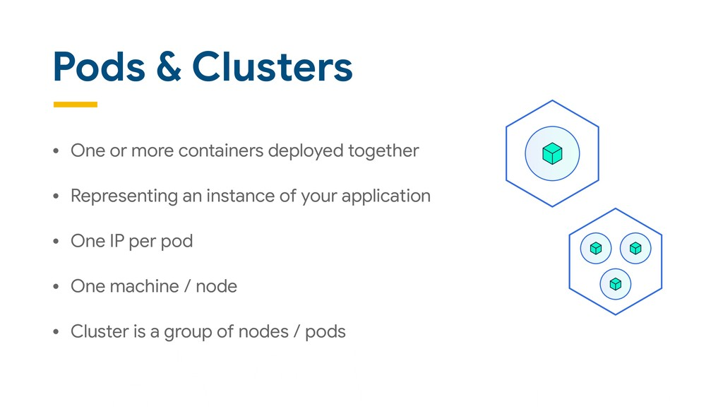 Pods & Clusters • One or more containers deploy...