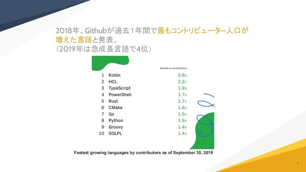 2018年、Githubが過去1年間で最もコントリビュータ―人口が 増えた言語と発表。 (20...