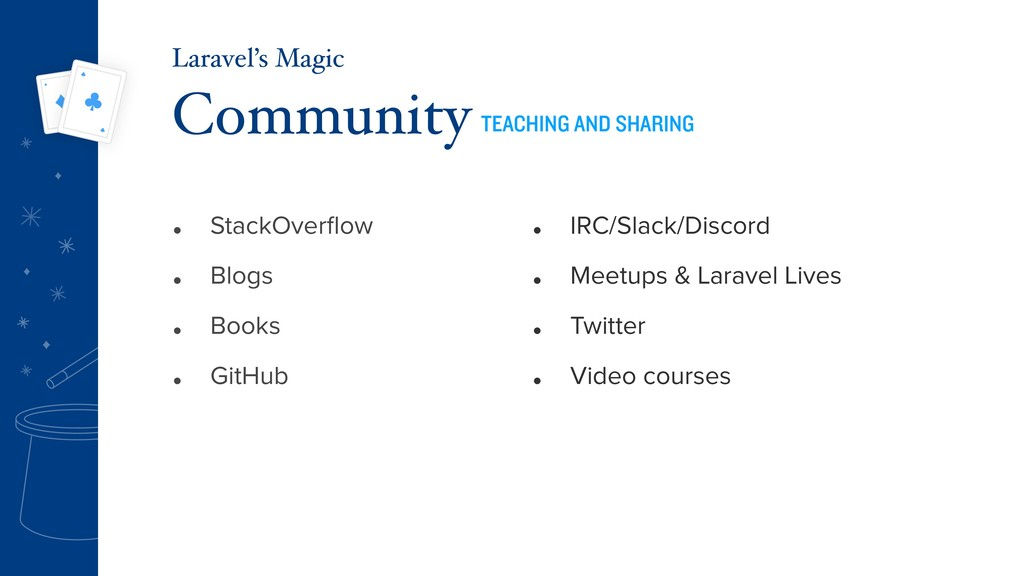 • StackOverflow • Blogs • Books • GitHub Communi...