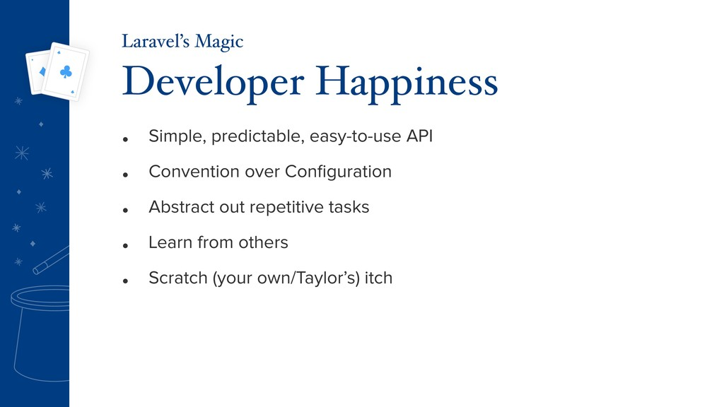 • Simple, predictable, easy-to-use API • Conven...