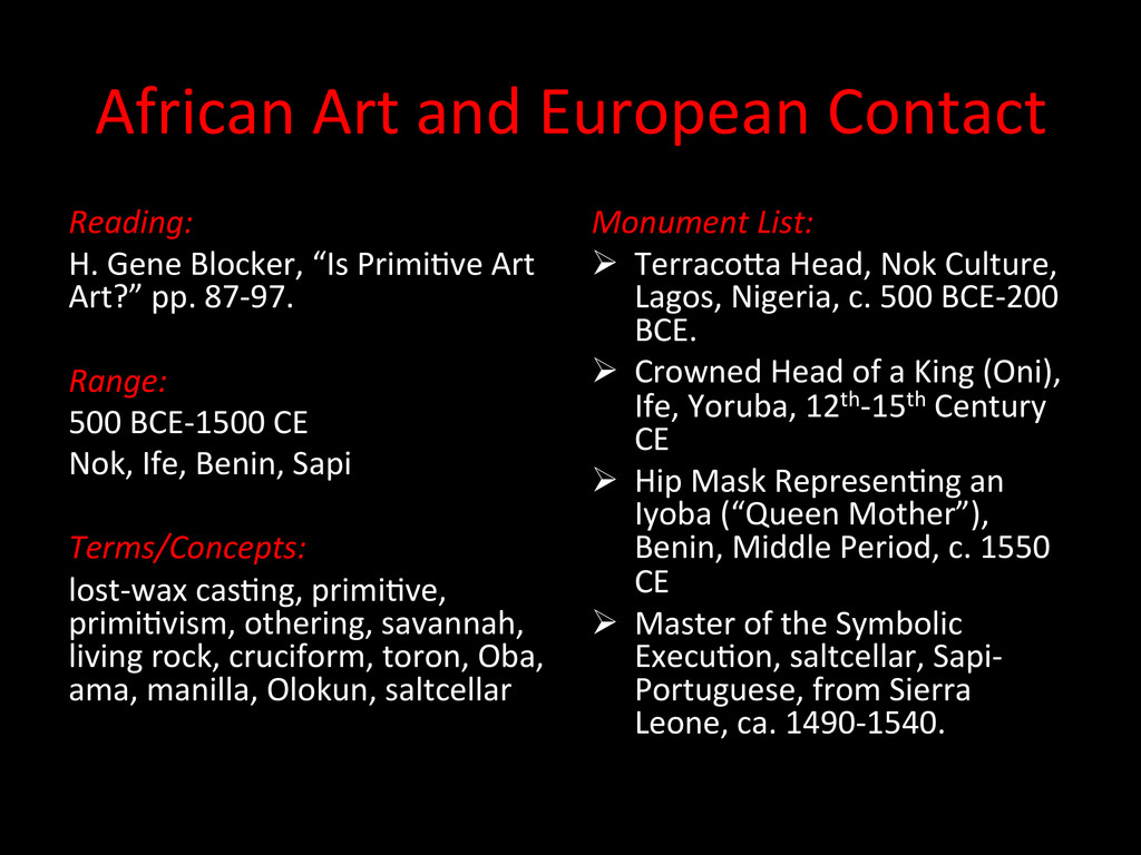 African Art and European Contact ...
