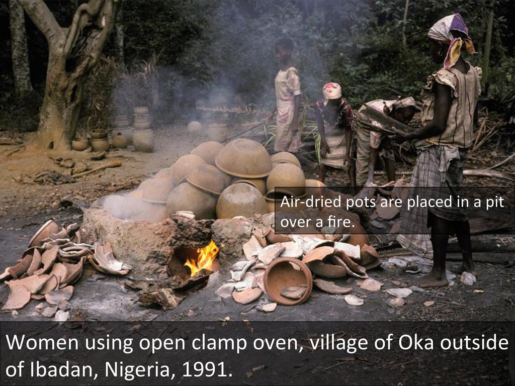 Women using open clamp oven, vil...
