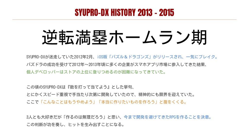 SYUPRO-DX HISTORY 2013 - 2015 逆転満塁ホームラン期 SYUPRO...