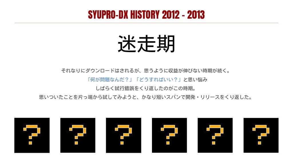 SYUPRO-DX HISTORY 2012 - 2013 迷走期 それなりにダウンロードはさ...
