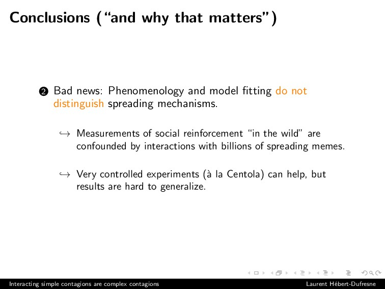 """Conclusions (""""and why that matters"""") 2 Bad news..."""
