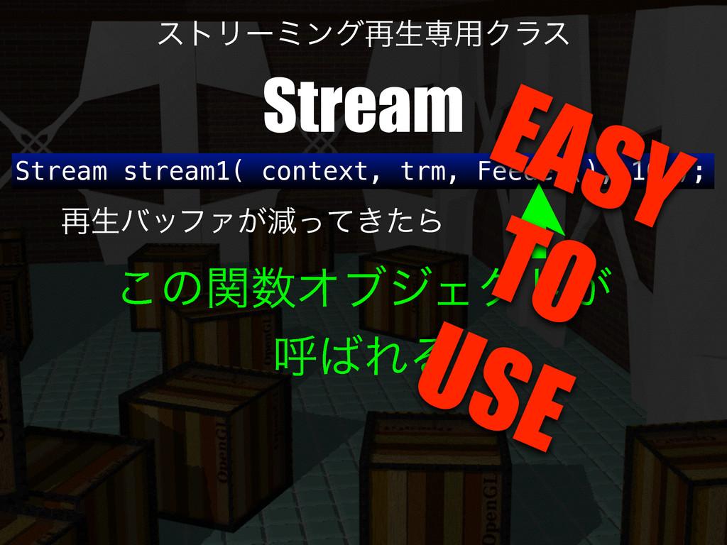 Stream stream1( context, trm, Feeder(), 10 ); ࠶...