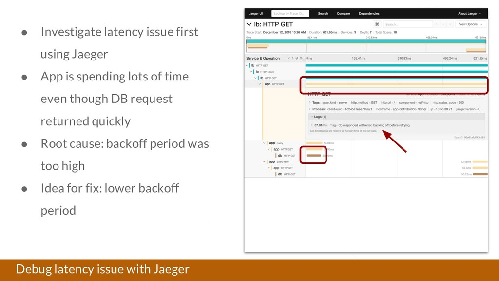 Debug latency issue with Jaeger ● Investigate l...