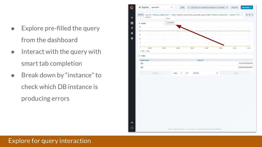 Explore for query interaction ● Explore pre-fil...