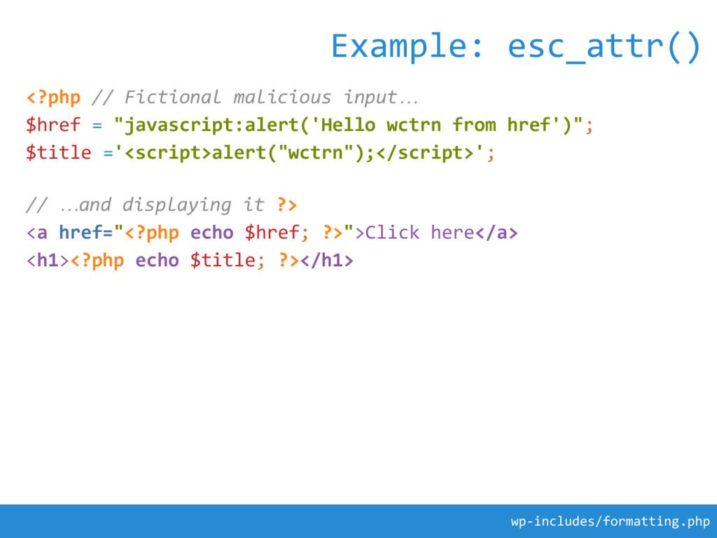 "<?php // Fictional malicious input… $href = ""ja..."