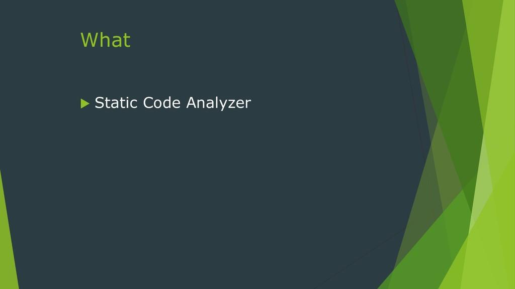 What  Static Code Analyzer