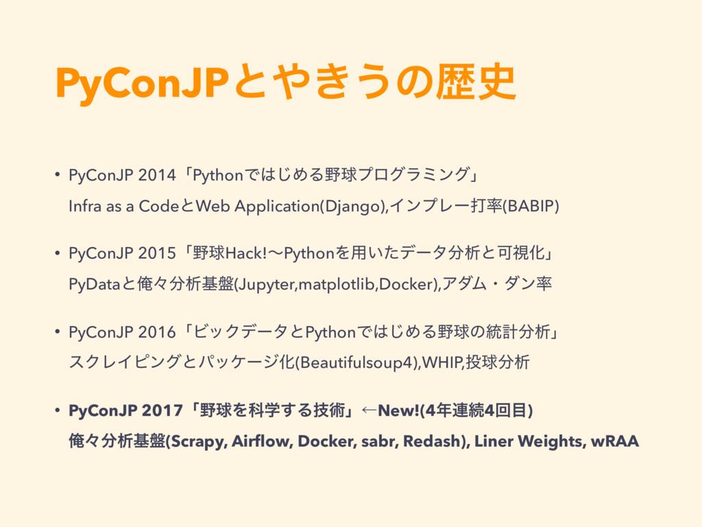 PyConJPͱ͖͏ͷྺ • PyConJP 2014ʮPythonͰ͡ΊΔٿϓϩάϥ...