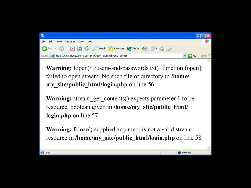 http://www.mysite.com/login.php?user=admin&pass...
