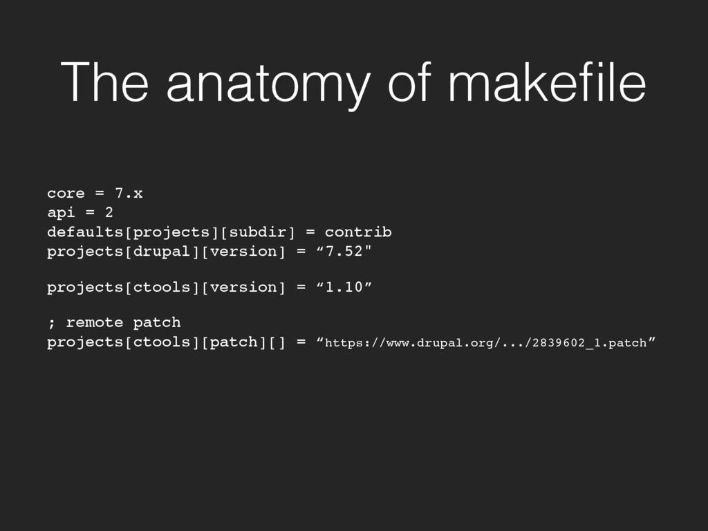 The anatomy of makefile core = 7.x api = 2 defau...