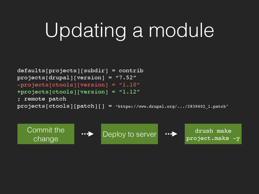 Updating a module defaults[projects][subdir] = ...