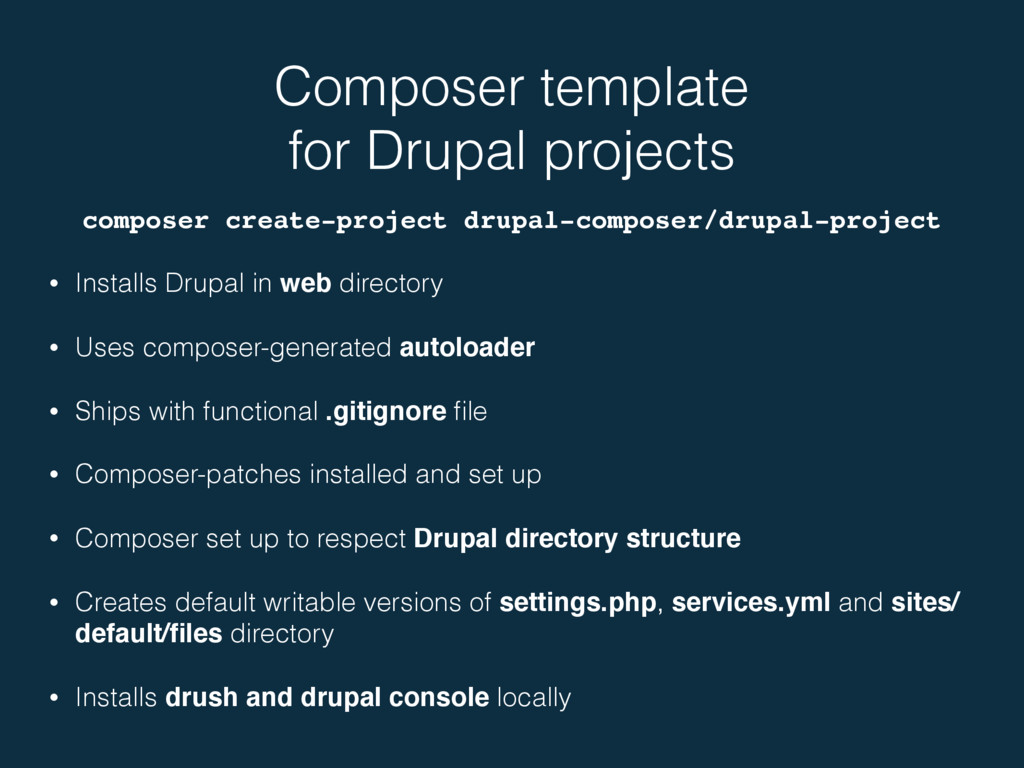 Composer template for Drupal projects composer...