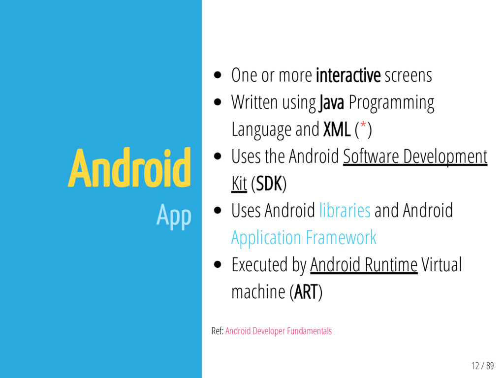 12 / 89 Android App One or more interactive scr...