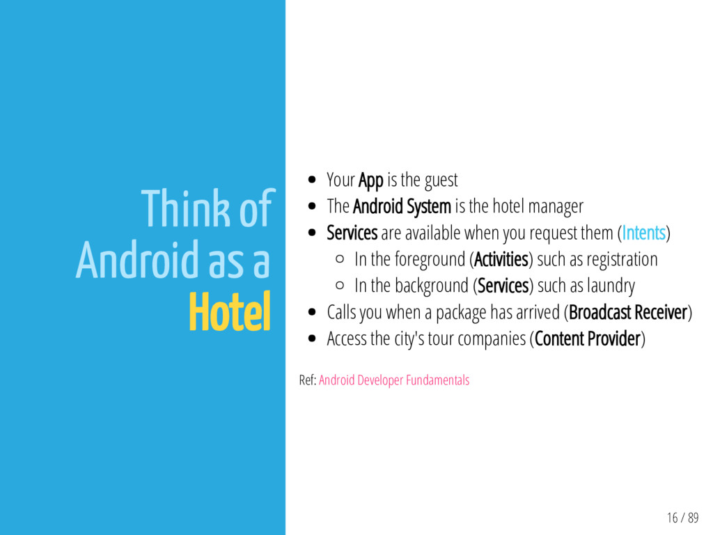 16 / 89 Think of Android as a Hotel Your App is...