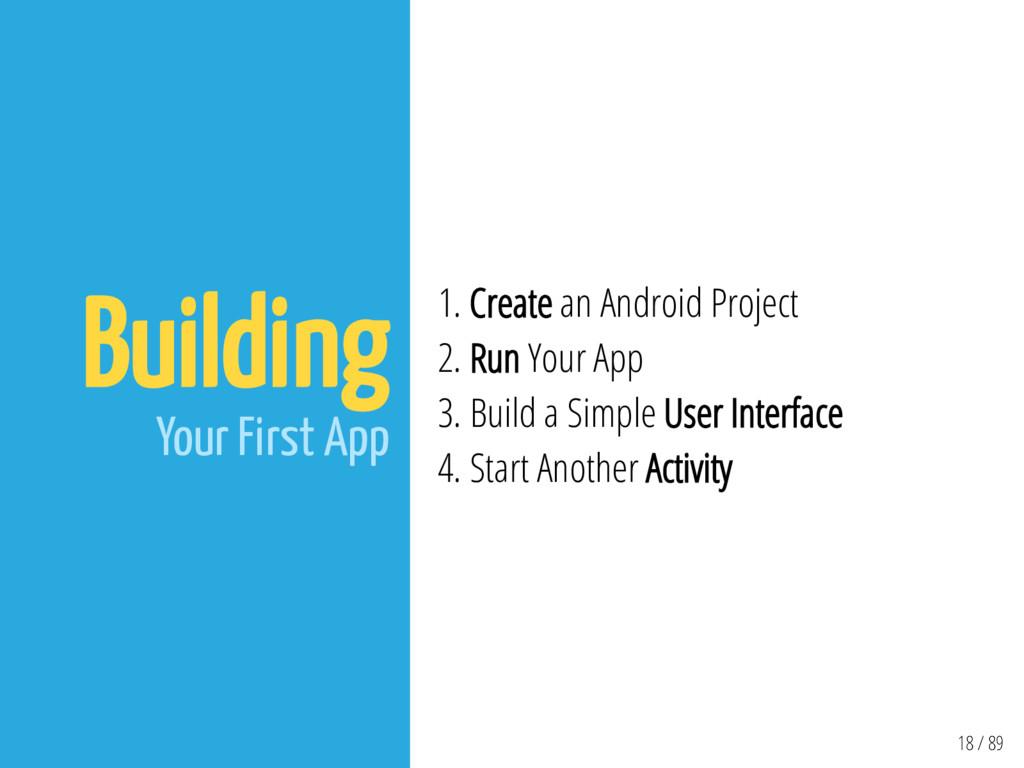 18 / 89 Building Your First App 1. Create an An...