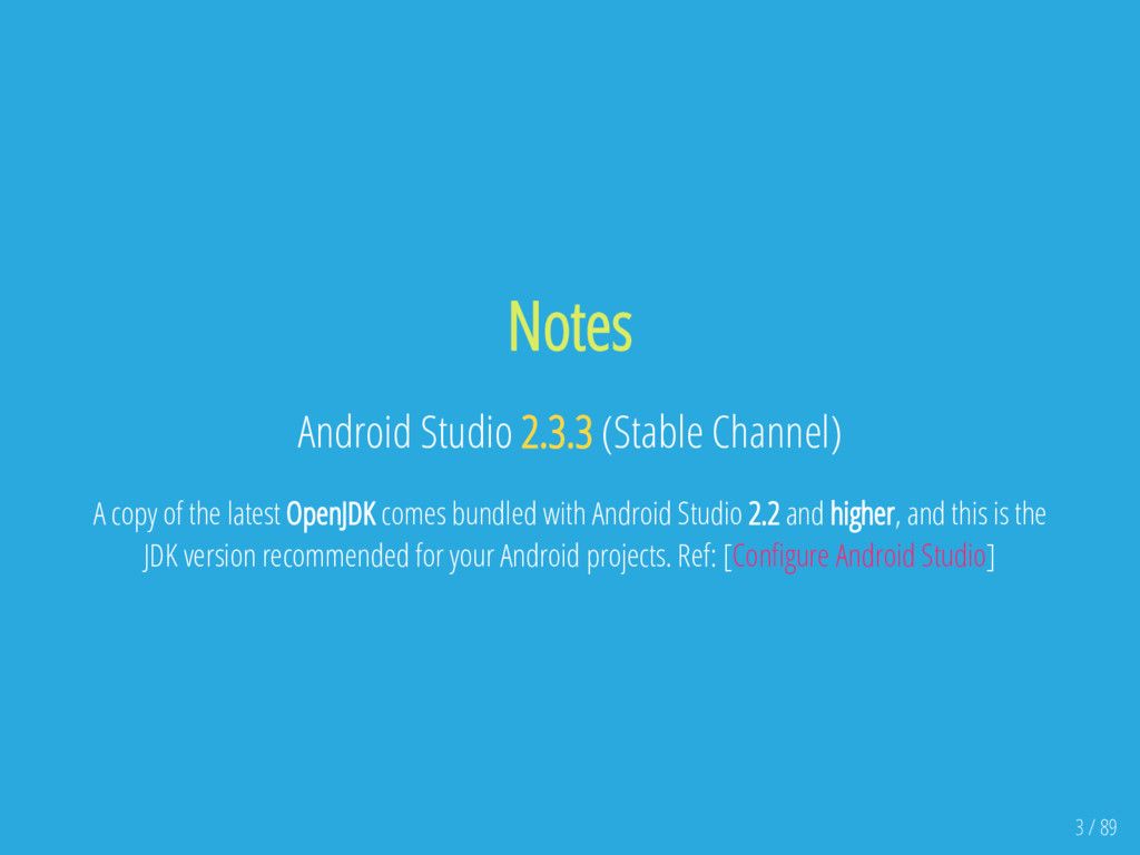 Notes Android Studio 2.3.3 (Stable Channel) A c...